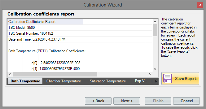 Temperature Calibration Coefficients Screen