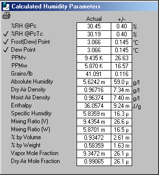 Calculated Humidity Parameters Screen